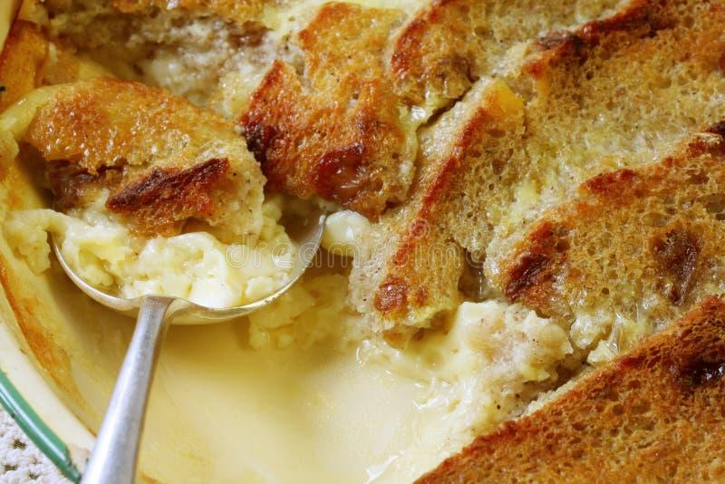 Pudín de pan y de la mantequilla imagen de archivo