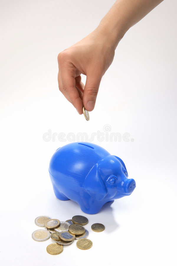 pudło pieniędzy, żeby ratować obraz stock