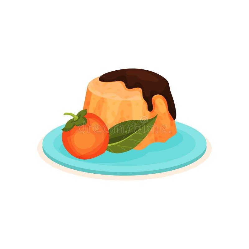 Pudding avec l'écrimage de chocolat et kaki entier avec la feuille verte Dessert appétissant Nourriture douce Icône plate de vect illustration libre de droits