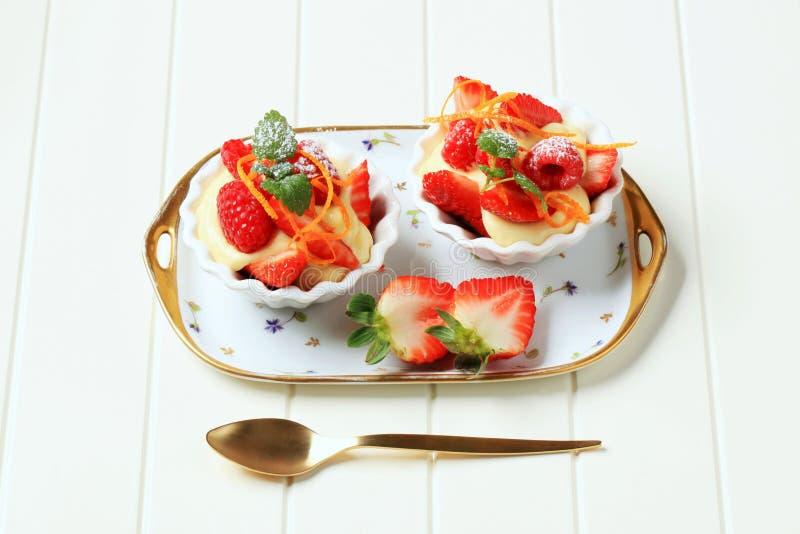 Pudding crémeux et fruit frais image libre de droits