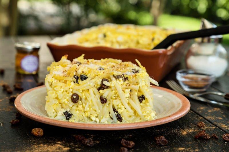 Pudding cuit au four par macaronis délicieux photos stock