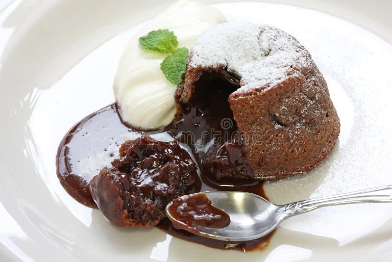 Pudding de chocolat chaud, chocolat d'Au de fondant images stock