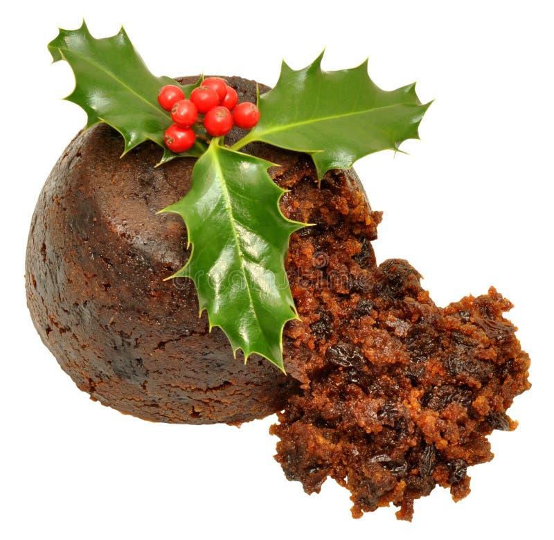 Pudding et houx de Noël photographie stock