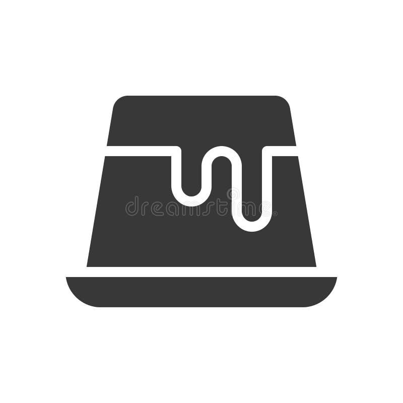 Pudding of pannacotta, bakkerij en gebakjereeks, glyph pictogram stock illustratie