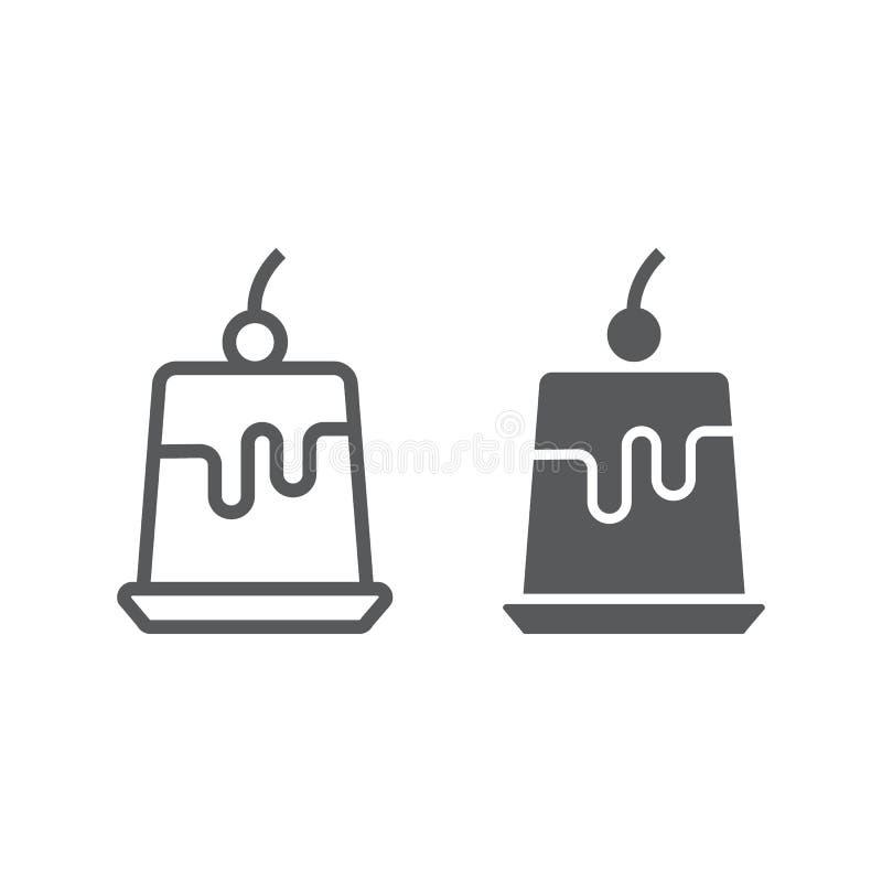 Puddinggeleelinie und Glyphikone, süß und geschmackvoll vektor abbildung