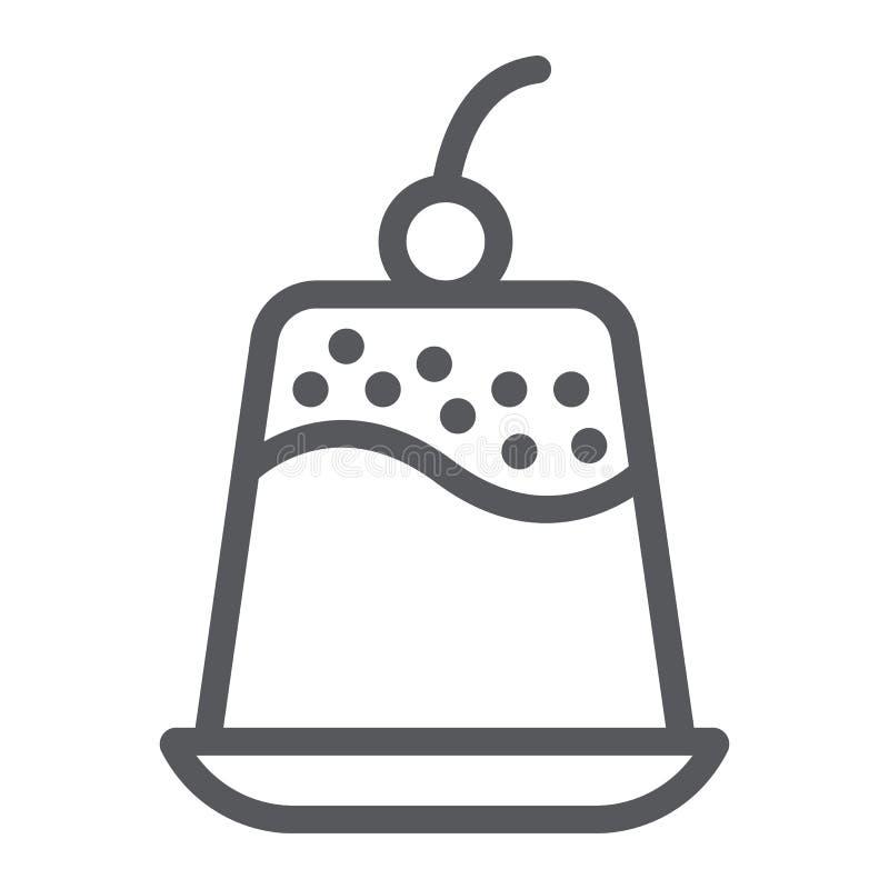 Puddinglinje symbol, sötsak och mat, efterrätttecken, vektordiagram, en linjär modell på en vit bakgrund royaltyfri illustrationer