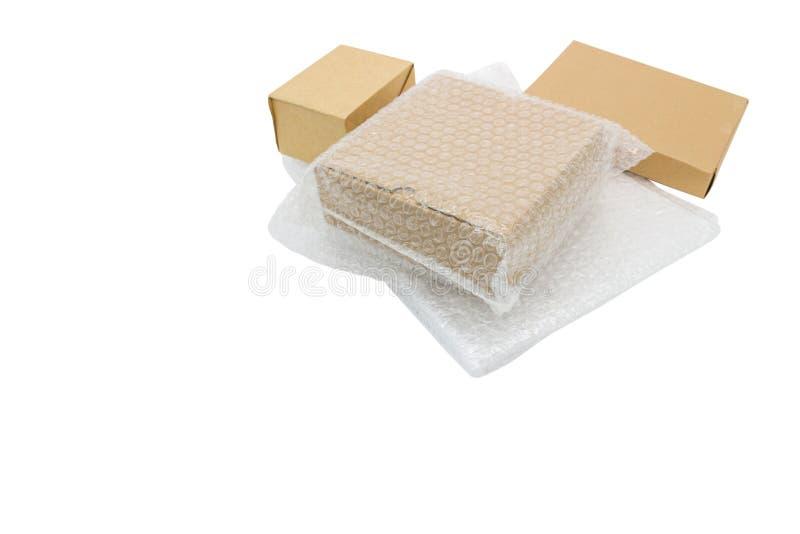 Pudełko i bąbla opakunek dla ochrona produktu, pękaliśmy Podczas transportu lub ubezpieczenie obraz royalty free