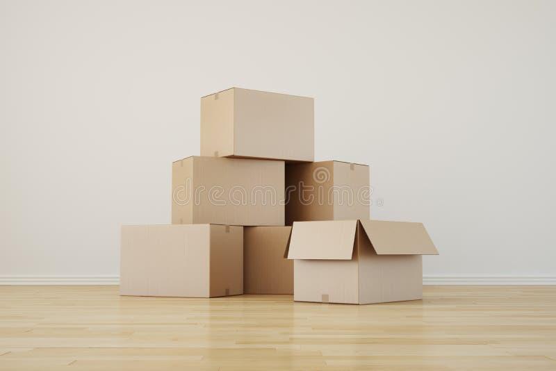 pudełek kartonu pusty pokój ilustracja wektor