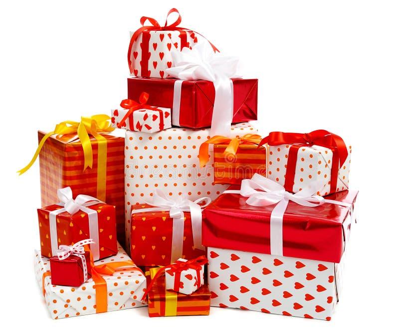 pudełek prezenta sterta zdjęcia royalty free