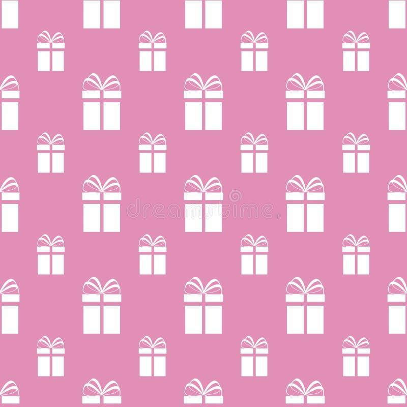 pudełek prezenta wzór bezszwowy Wektorowy tło Teraźniejszości powtórki tekstura Biali prezentów pudełka, różowy tło Szablonu proj ilustracji