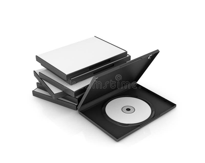 Pudełka DVD i cd dyski, biały dysk, royalty ilustracja