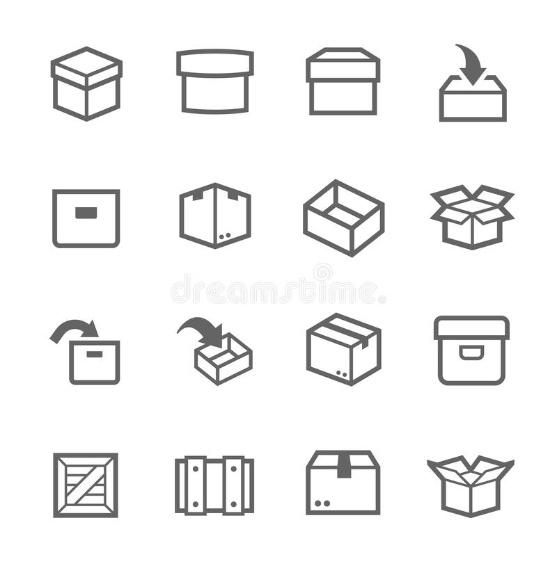 Pudełka i skrzynek ikony royalty ilustracja