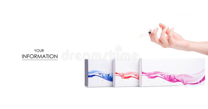 Pudełka opryskują w ręki piękna kosmetologii wzorze zdjęcie royalty free