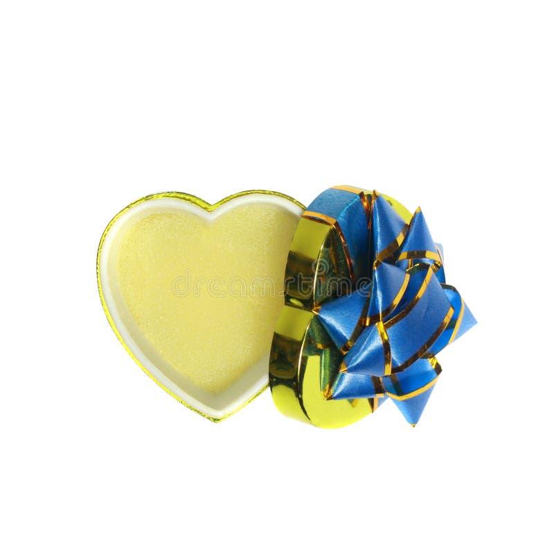 pudełka pusty prezenta serce odizolowywający kształtny biel zdjęcie stock