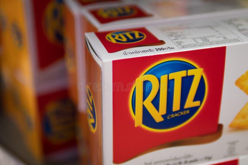 Pudełka Ritz krakers na supermarket półce zdjęcia royalty free