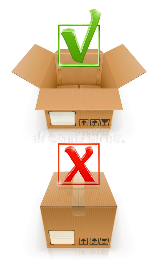 Pudełka z OK i cancel oceną ilustracja wektor