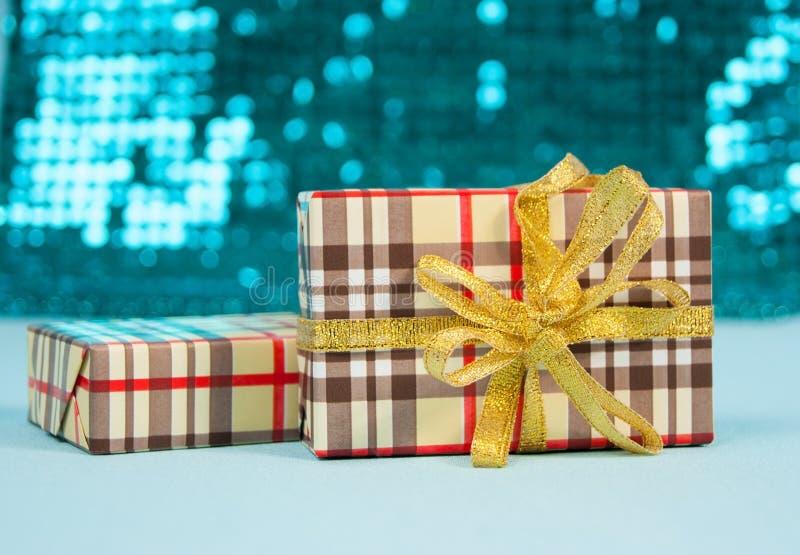 Pudełka z prezentami dla nowego roku fotografia royalty free