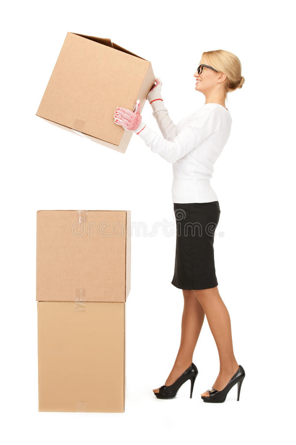 pudełko atrakcyjny duży bizneswoman obraz royalty free