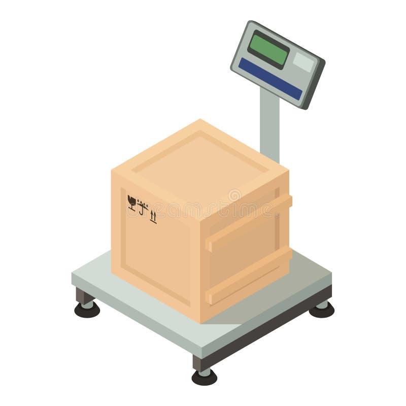 Pudełko dalej waży ikonę, isometric styl ilustracji