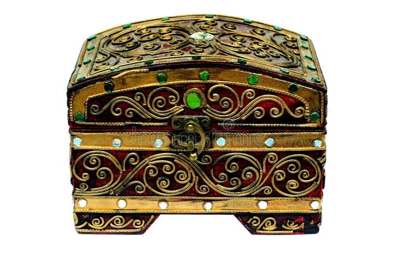 Pudełko dekoruje z biżuterią odizolowywa zdjęcia royalty free