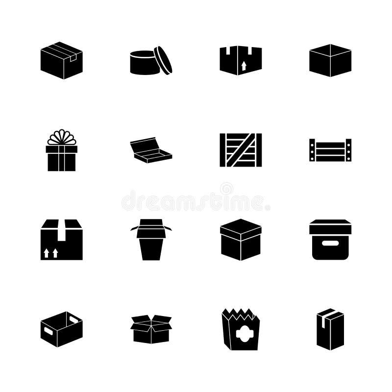 Pudełko i skrzynki - Płaskie Wektorowe ikony ilustracja wektor