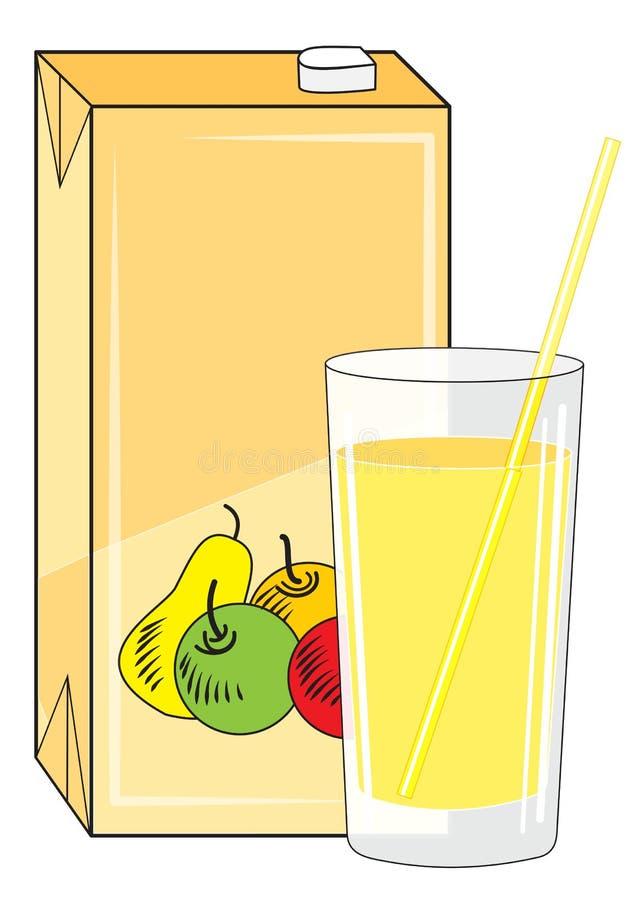 Pudełko i szkło z sokiem ilustracja wektor