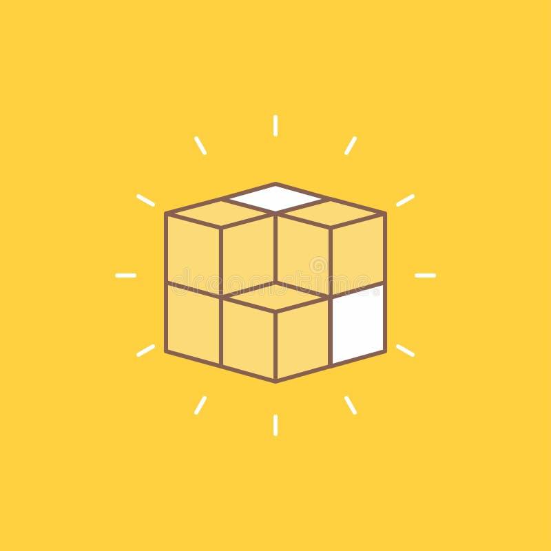 pudełko, labitynt, łamigłówka, rozwiązanie, sześcianu mieszkania linia Wypełniał ikonę Pi?kny logo guzik nad ? royalty ilustracja