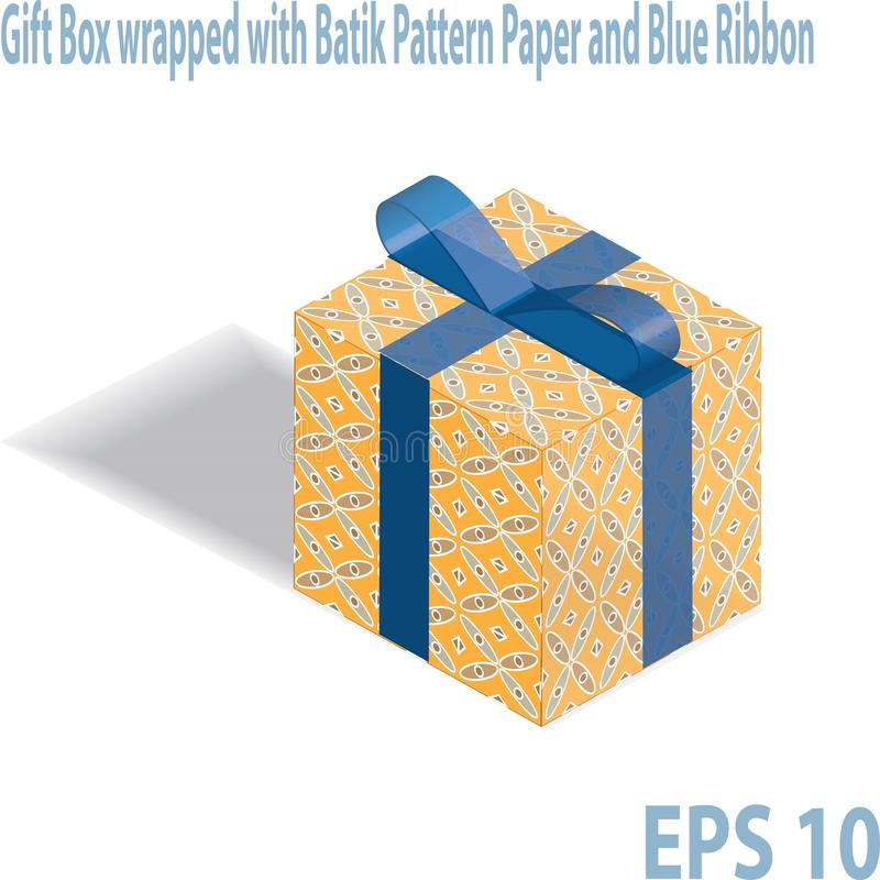 Pudełko na prezent zapakowane w indonezyjski wzorzec Batik royalty ilustracja