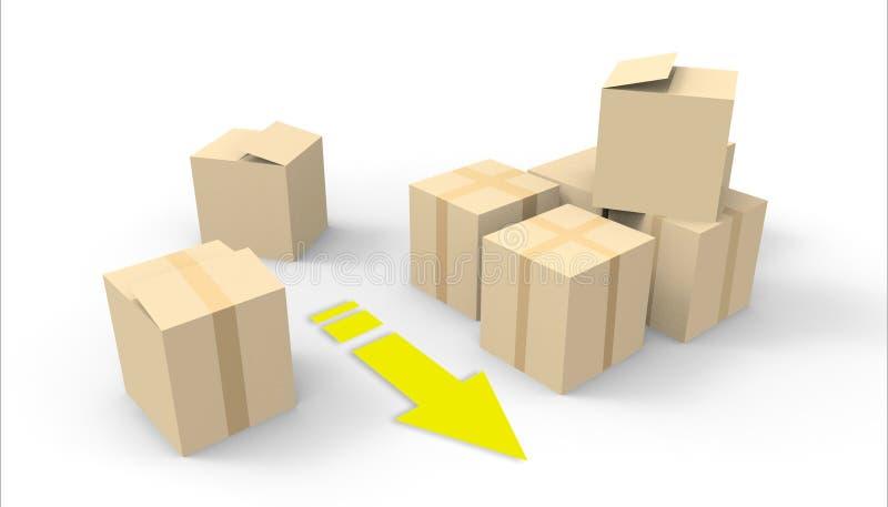 Pudełko pakunku dostawy grupy, Drobnicowy pakunku zakończenie up na białym tle royalty ilustracja