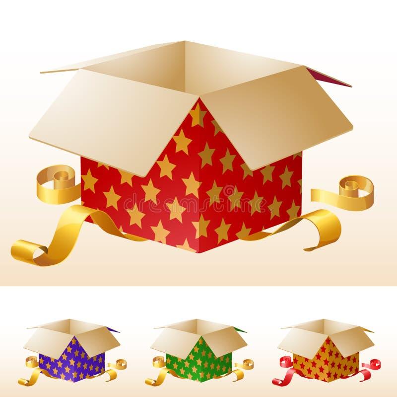 pudełko prezent złota otwarte wstążki ilustracja wektor