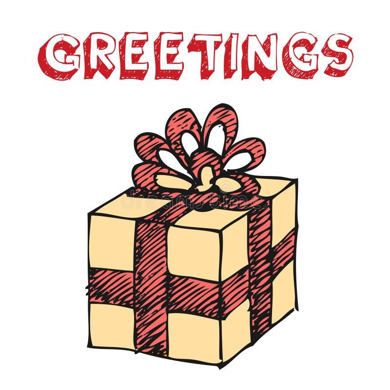 pudełko rysująca prezenta ręka ilustracji