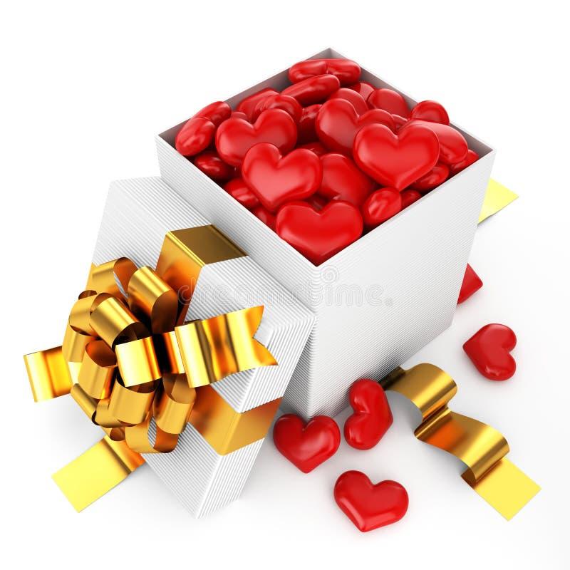 pudełko wypełnione serce otwarte ilustracji