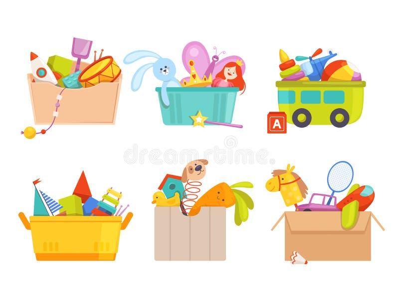 Pudełko zabawek Dzieci zabawki samochody rakietowe niedźwiedzie piłka nożna prezenty dla dzieci wektory kolekcja ilustracja wektor
