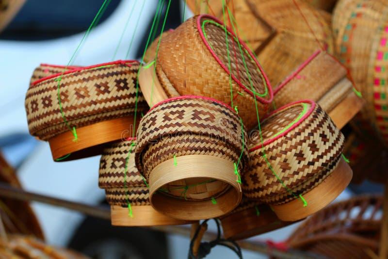 Pudełkowaci bambusowi ryż, zbiornik, zbiornik, ryż, mądrość w Tajlandia, zdjęcie stock