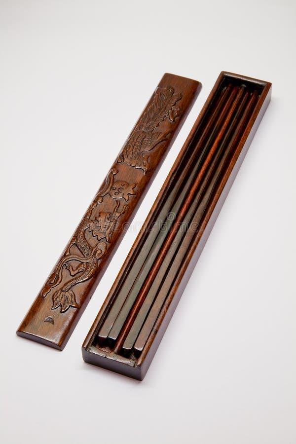 pudełkowaci chińscy chopsticks otwierają drewnianego zdjęcia royalty free