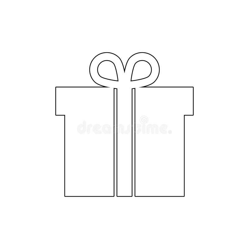 Pudełkowata boże narodzenie prezenta pakunku teraźniejszości konturu ikona Znaki i symbole mog? u?ywa? dla sieci, logo, mobilny a royalty ilustracja