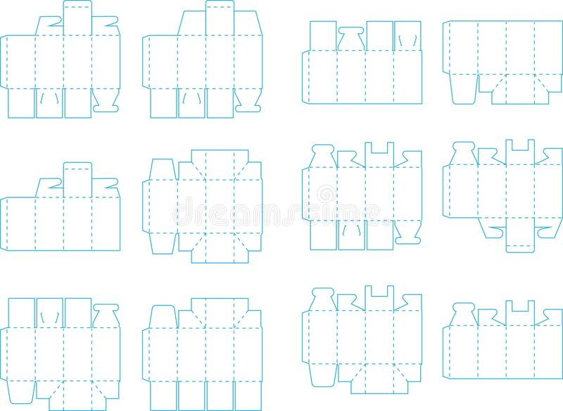 Pudełkowata szablon kolekcja 03 eps ilustracja wektor
