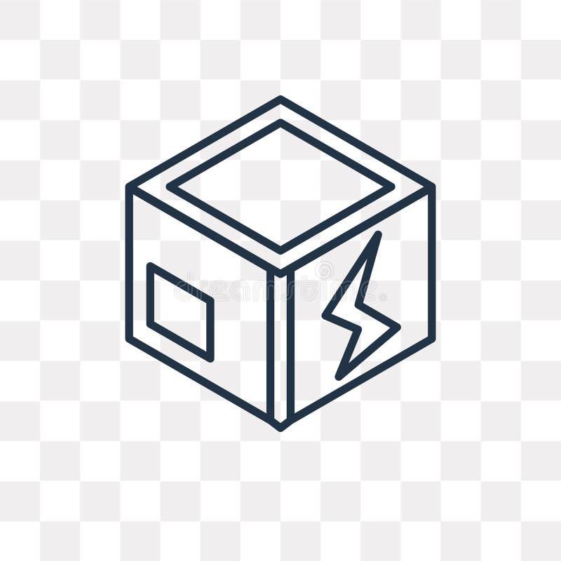 Pudełkowata wektorowa ikona odizolowywająca na przejrzystym tle, liniowy pudełko t ilustracja wektor