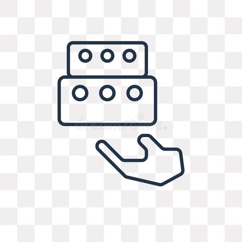 Pudełkowata wektorowa ikona odizolowywająca na przejrzystym tle, liniowy pudełko t royalty ilustracja