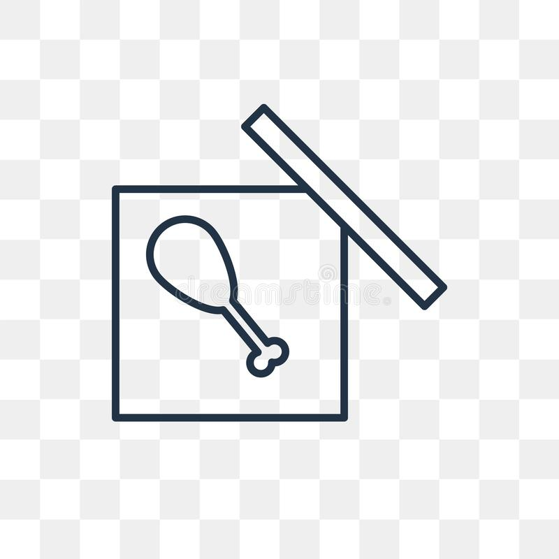 Pudełkowata wektorowa ikona odizolowywająca na przejrzystym tle, liniowy pudełko t ilustracji