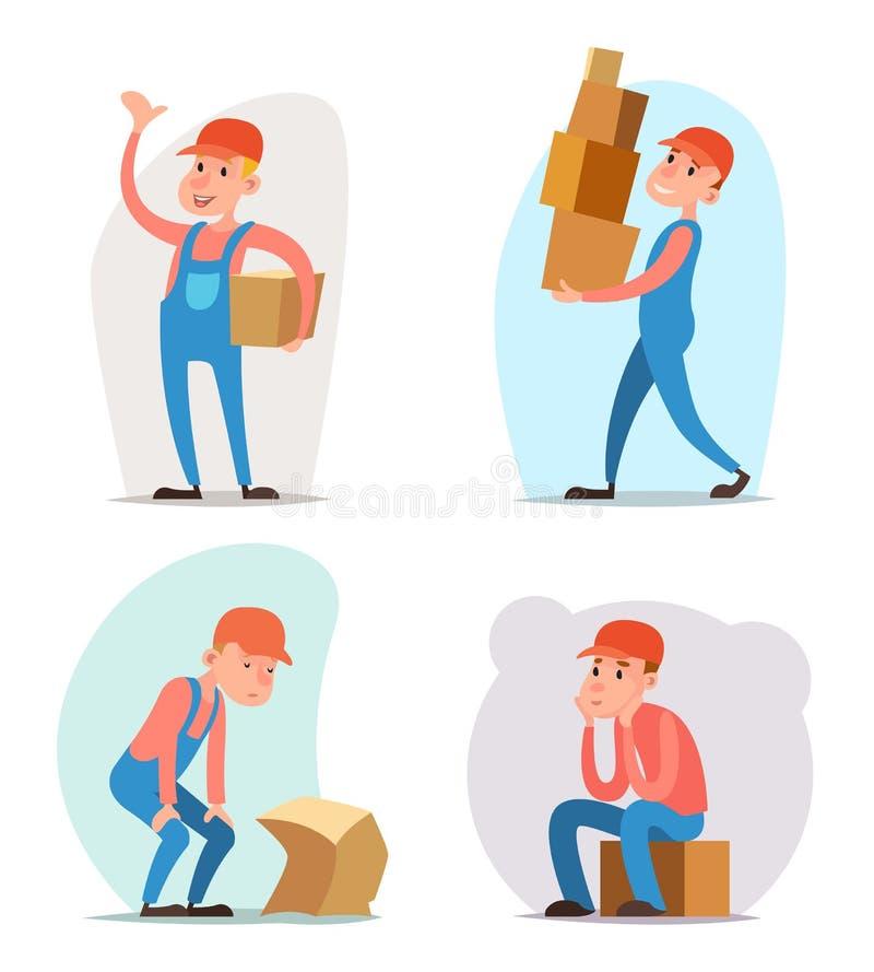 Pudełkowatego ładunku transportu ładowacza Deliveryman charakteru ikony kreskówki projekta szablonu Frachtowy Ładowniczy Doręczen ilustracji