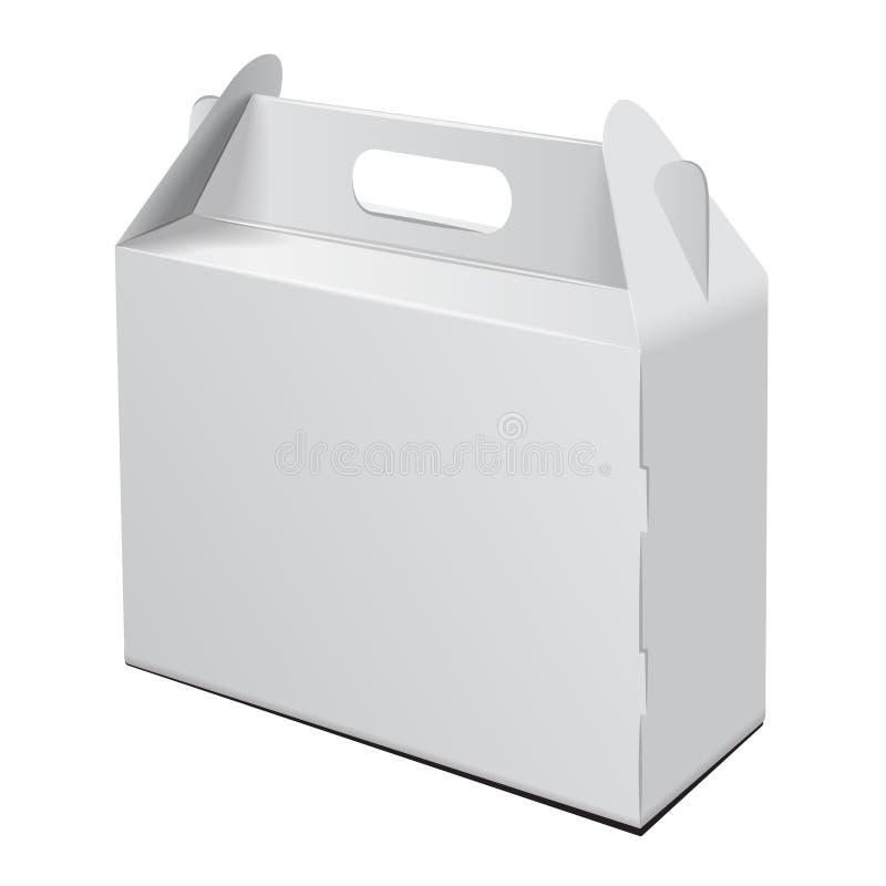 pudełkowatego kartonu odosobneni cienie biały Dla torta, fasta food, prezenta, etc, Niesie Pakować Wektorowy mockup Biały szablon royalty ilustracja