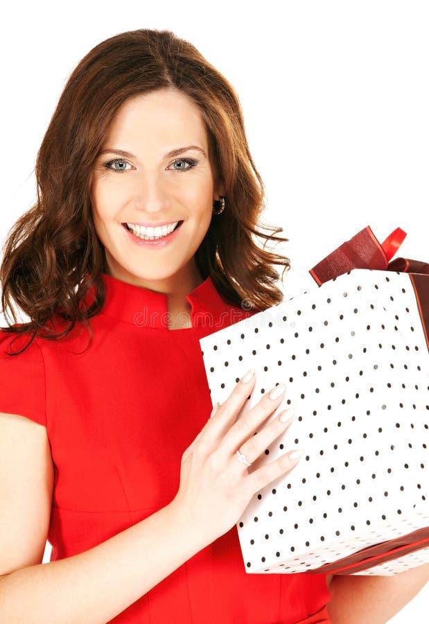 pudełkowatego prezenta szczęśliwa kobieta fotografia stock