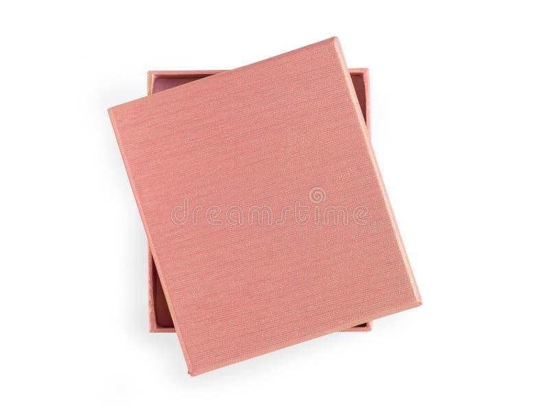 pudełkowaty beżu prezent Odizolowywający na bielu, ścinek ścieżka zawierać zdjęcia royalty free
