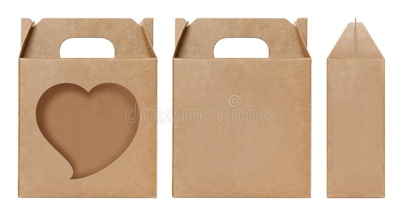 Pudełkowaty brown nadokienny Kierowy kształt ciący out Pakujący szablon, Pusty karton odizolowywający Kraft pudełka biały tło, pu zdjęcia royalty free