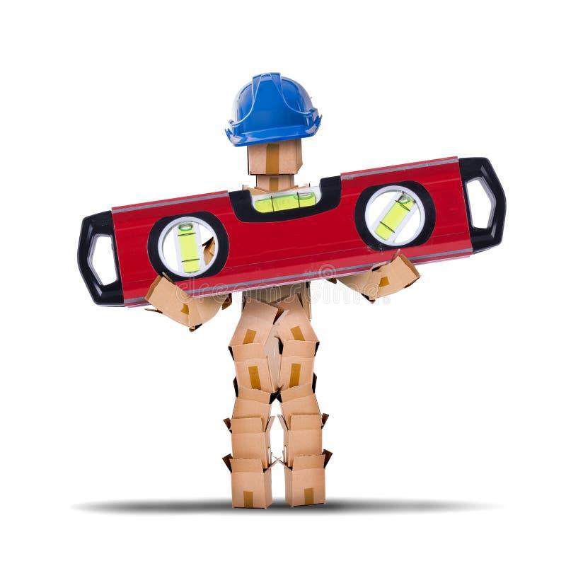 Pudełkowaty charakteru pracownik trzyma spirytusowego poziom zdjęcia stock
