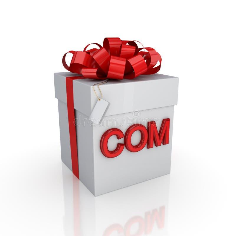 pudełkowaty com prezenta podpis ilustracji