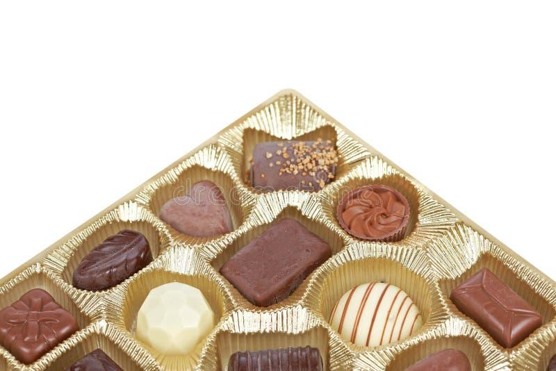 pudełkowaty cukierków czekolady złoto zdjęcie stock
