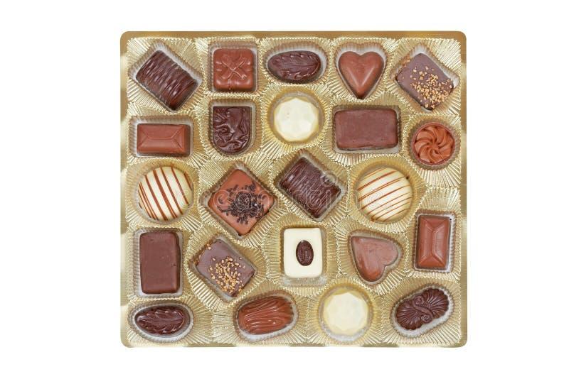 pudełkowaty cukierków czekolady złoto fotografia royalty free