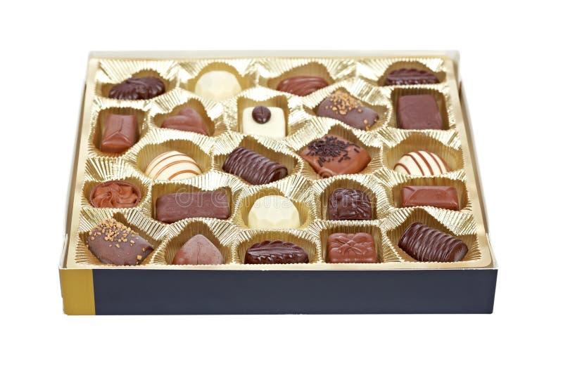 pudełkowaty cukierków czekolady złoto obraz stock